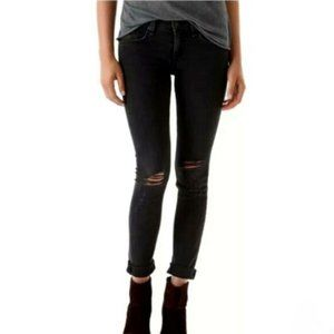 RAG & BONE Black Cropped Distressed Couture Jeans